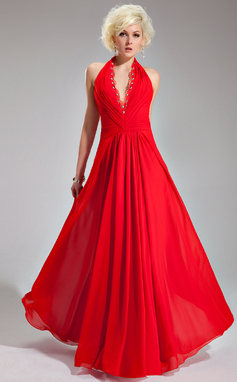 A-Line/Princess Halter Floor-Length Chiffon Evening Dress With Ruffle Lace Beading (017019761)