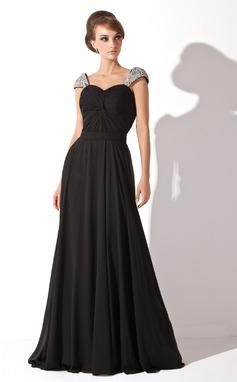 Forme Princesse Amoureux Traîne moyenne Mousseline de soie Robe de soirée avec Plissé Brodé Paillettes (017005826)