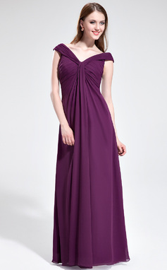С завышенной талией С Открытыми Плечами Длина до пола шифон Платье Подружки Невесты с Рябь (007025351)