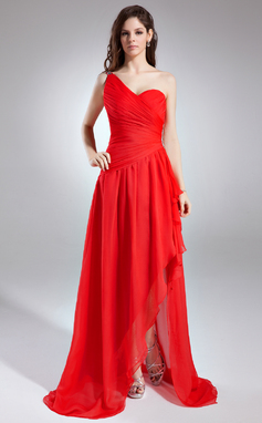 A-Line/Princess One-Shoulder Asymmetrical Chiffon Prom Dress With Ruffle Beading Cascading Ruffles (018015942)