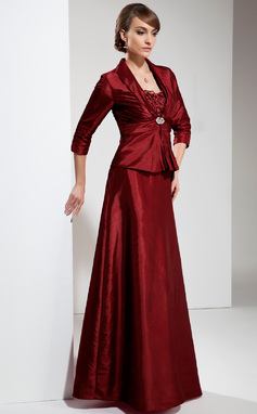 A-Line/Princess Sweetheart Floor-Length Taffeta Mother of the Bride Dress With Ruffle Lace Beading (008006039)