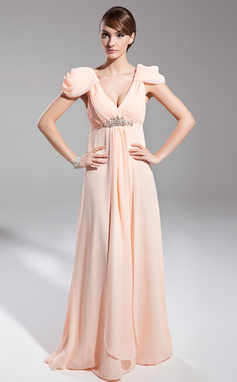 Empire V-neck Floor-Length Chiffon Holiday Dress With Ruffle Beading (008014696)