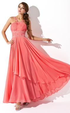 Corte A/Princesa Escote en V Hasta el suelo Chifón Vestido de baile de promoción con Volantes Bordado Lentejuelas (018004805)