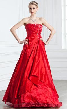 A-formet/Prinsesse Stroppløs Gulvlengde Taft Quinceanerakjole med Frynse Perlebesydd (021005238)