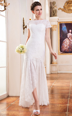 Trumpet/Mermaid Scoop Neck Asymmetrical Lace Wedding Dress (002047395)