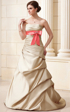 A-Linie/Princess-Linie Trägerlos Hof-schleppe Satin Brautkleid mit Rüschen Schleifenbänder/Stoffgürtel Perlen verziert Schleife(n) (002019538)