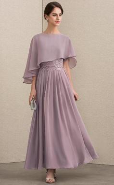 Corte A Decote redondo Longuete Tecido de seda Renda Vestido para a mãe da noiva com Beading lantejoulas (008152152)