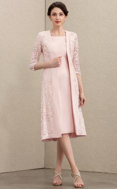 Etui-Linie U-Ausschnitt Knielang Spitze Strech-Krepp Kleid für die Brautmutter (008195379)