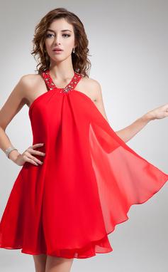 Forme Princesse Dos nu Court/Mini Mousseline Robe de soirée étudiante avec Emperler (022004625)
