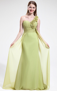 Trumpet/Mermaid One-Shoulder Sweep Train Chiffon Bridesmaid Dress With Ruffle Flower(s) (018025604)