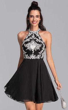 Corte A Decote redondo Curto/Mini Tecido de seda Vestido de boas vindas (022206505)