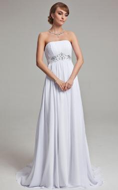 Empire Strapless Court Train Chiffon Wedding Dress With Ruffle Beading (002001171)