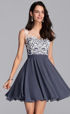 Corte A Decote redondo Curto/Mini Tecido de seda Vestido de boas vindas (022206509)