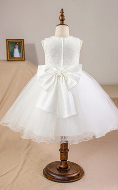 Scoop Neck Knee-Length Tulle Junior Bridesmaid Dress With Bow(s) (009126285)