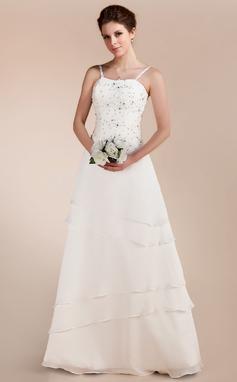 A-Linie/Princess-Linie Herzausschnitt Bodenlang Chiffon Satin Brautkleid mit Spitze Perlen verziert (002011644)