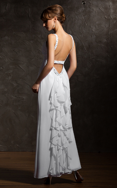 Vestidos princesa/ Formato A Decote V Longuete De chiffon Vestido de festa com Bordado Babados em cascata (017020735)