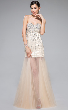 Trumpet/Mermaid Sweetheart Floor-Length Tulle Prom Dress With Beading Sequins (018044964)