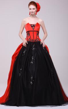 Платье для Балла Волнистый Sweep/Щетка поезд Шармёз Пышное платье с Бисер аппликации кружева (021016159)