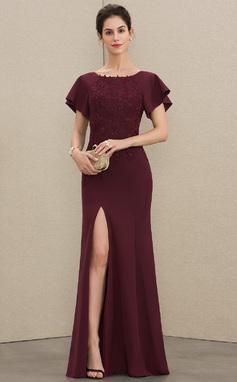 Etui-Linie U-Ausschnitt Bodenlang Spitze Strech-Krepp Kleid für die Brautmutter mit Schlitz Vorn (008179217)