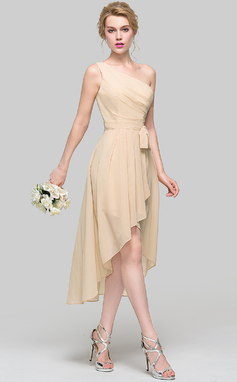 A-Line/Princess One-Shoulder Asymmetrical Chiffon Bridesmaid Dress With Ruffle Bow(s) Cascading Ruffles (007090203)