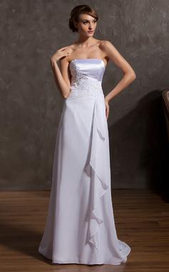 Forme Princesse Sans bretelle alayage/Pinceau train Mousseline Robe de mariée avec Motifs appliqués Dentelle Robe à volants (002014936)