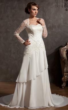 Forme Princesse Bustier en coeur Traîne mi-longue Mousseline Tulle Robe de mariée avec Dentelle (002014901)