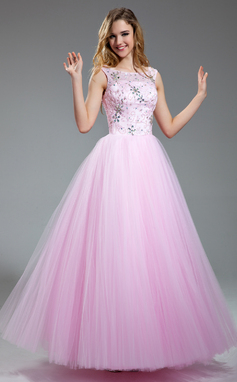 Ball-Gown Scoop Neck Floor-Length Tulle Prom Dress With Beading Sequins (018018997)