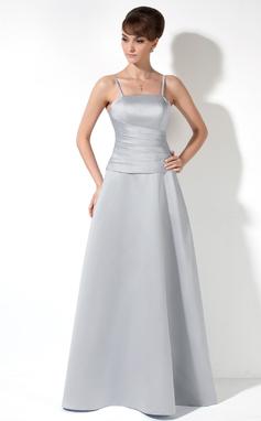 Трапеция/Принцесса Длина до пола Атлас Платье Подружки Невесты с Рябь (007000901)