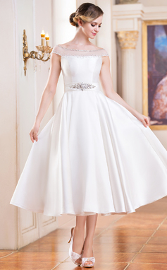 A-Line/Princess Off-the-Shoulder Tea-Length Satin Wedding Dress With Beading Sequins (002052698)