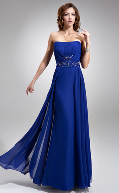 A-Line/Princess Strapless Floor-Length Chiffon Bridesmaid Dress With Ruffle Beading Sequins (007016749)