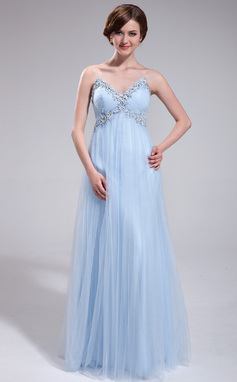 Corte imperial Escote corazón Vestido Tul Vestido de baile de promoción con Volantes Bordado Lentejuelas (018025288)
