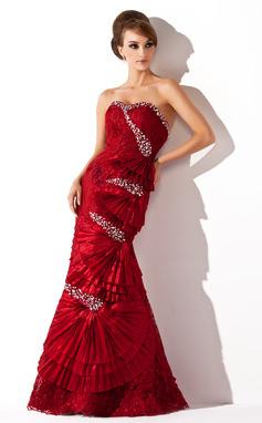 Corte trompeta/sirena Escote corazón Hasta el suelo Tafetán Encaje Vestido de baile de promoción con Bordado (018005088)