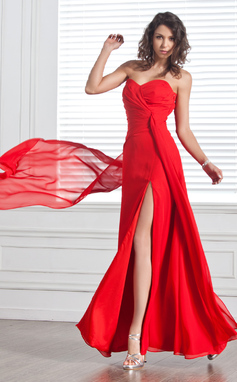 A-Line/Princess Sweetheart Floor-Length Chiffon Evening Dress With Ruffle Split Front (017025912)
