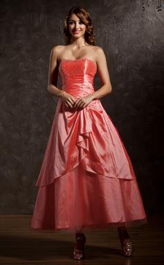 A-Line/Princess Sweetheart Ankle-Length Taffeta Quinceanera Dress With Beading Cascading Ruffles (021013954)