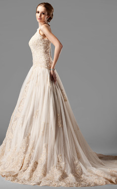 De baile Cabresto Cauda longa Tule Renda Vestido de noiva com Beading (002000154)
