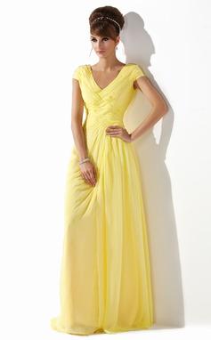 Corte A/Princesa Escote en V Hasta el suelo Chifón Vestido de baile de promoción con Volantes Bordado (018005580)