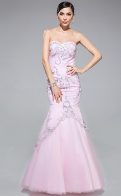 Trumpet/Mermaid Sweetheart Floor-Length Tulle Prom Dress With Embroidered (018046236)