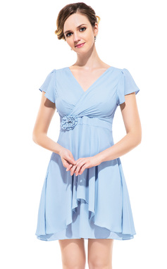 A-Line/Princess V-neck Short/Mini Chiffon Bridesmaid Dress With Flower(s) Cascading Ruffles (007052355)