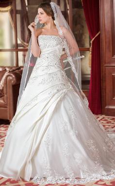 Balklänning Axelbandslös Chapel släp Satäng Tyll Bröllopsklänning med Rufsar Spetsar Pärlbrodering Paljetter (002000616)
