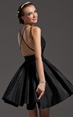 Vestidos princesa/ Formato A Decote V Curto/Mini Tafetá Vestido de boas vindas com Pregueado (022009213)