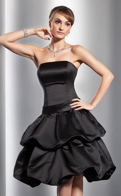 Vestidos princesa/ Formato A Sem Alças Coquetel Cetim Vestido de boas vindas com Pregueado Curvado (022014780)