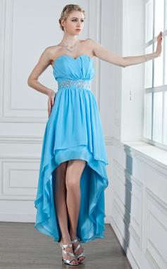 Vestidos princesa/ Formato A Coração Assimétrico De chiffon Vestido de Férias com Pregueado Bordado (020026029)