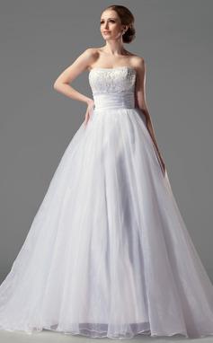 De baile Coração Cauda de sereia Cetim Organza de Vestido de noiva com Pregueado Renda (002004149)