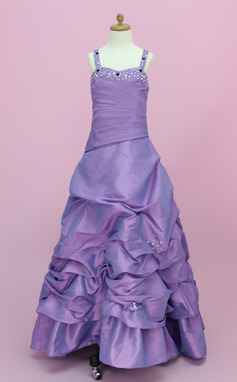 A-Line/Princess Floor-length Flower Girl Dress - Taffeta Sleeveless Sweetheart With Ruffles/Beading/Pick Up Skirt (010002150)