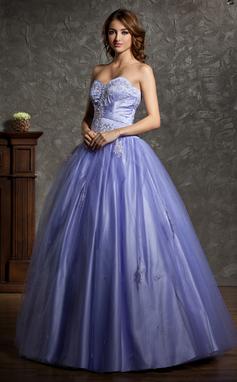 Платье для Балла В виде сердца Длина до пола Тюль Пышное платье с Бисер аппликации кружева (021004601)