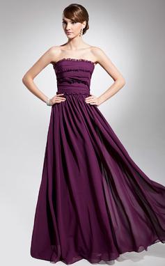 Forme Princesse Sans bretelle Longueur ras du sol Mousseline Robe de soirée avec Plissé (017014692)