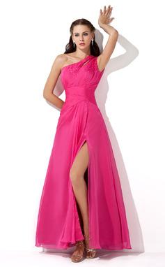 Corte A/Princesa Un sólo hombro Hasta el suelo Chifón Vestido de baile de promoción con Volantes Bordado Lentejuelas Apertura frontal (018005062)