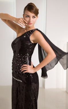 A-Line/Princess One-Shoulder Sweep Train Chiffon Sequined Prom Dress With Beading Split Front (018014462)