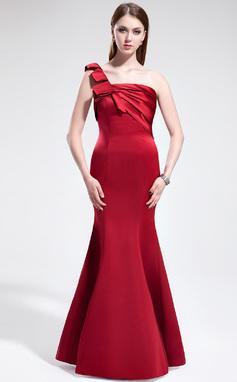 Trumpet/Mermaid One-Shoulder Floor-Length Satin Bridesmaid Dress With Ruffle (007025346)
