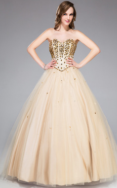 Ball-Gown Sweetheart Floor-Length Tulle Prom Dress With Beading (018047244)